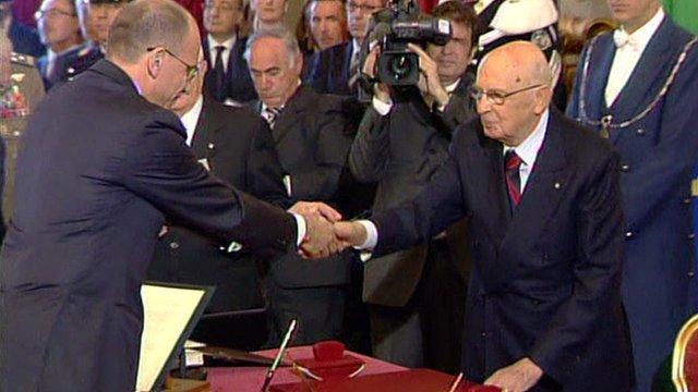 Encrico Letta (L) and President Napolitano (R)