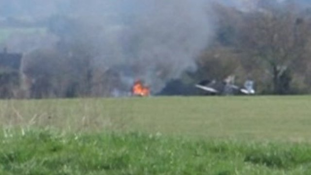 Aftermath of plane crash at Middle Wallop