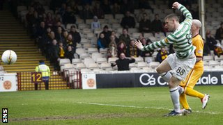 Gary Hooper's 29th goal of the season gave Celtic the lead at Fir Park