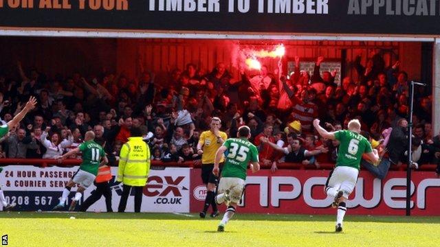 Doncaster fans celebrate