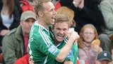 Brett Ormerod celebrates Wrexham's opening goal with Jay Harris