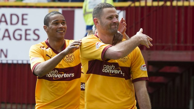 Michael Higdon celebrates his penalty for Motherwell
