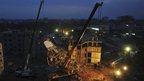Cranes at the factory site in Dhaka, Bangladesh
