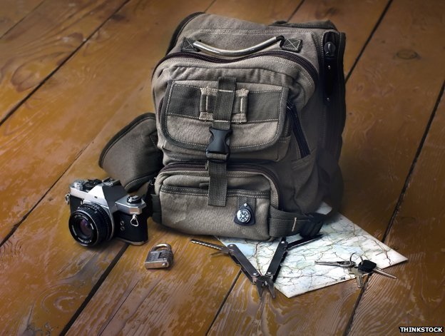 Backpack, camera, compass, multi-tool