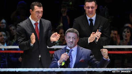 Sylvester Stallone with Wladimir and Vitali Klitschko