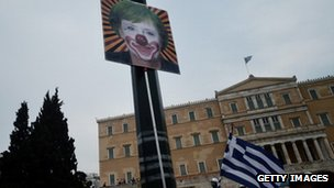 A poster of Angela Merkel in front of the Greek parliament