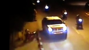 Grainy CCTV footage showing the vehicle in which Sombath Somphone was taken away