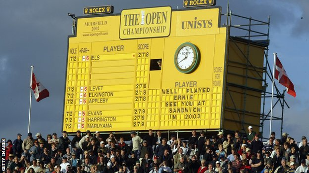 The scoreboard at Muirfield
