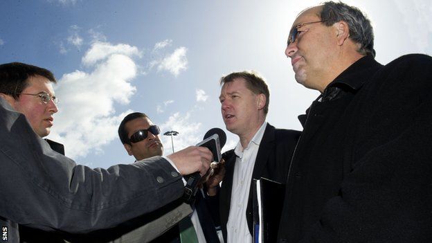 Ross County chairman Roy MacGregor (right) at Hampden