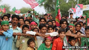 Crowds at a rally for Imran Khan