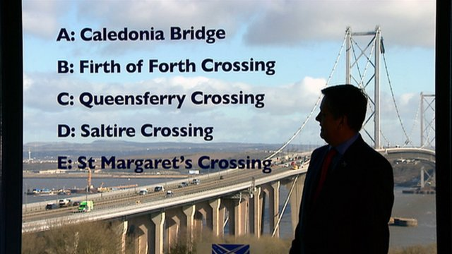 Transport Minister Keith Brown and the shortlisted names for the new Forth Crossing