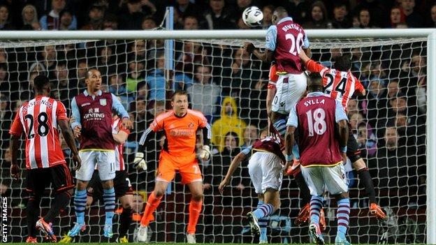 Christain Benteke scores Aston Villa's third goal