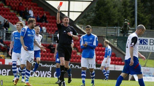 David Raven is sent off by Craig Thomson against St Johnstone