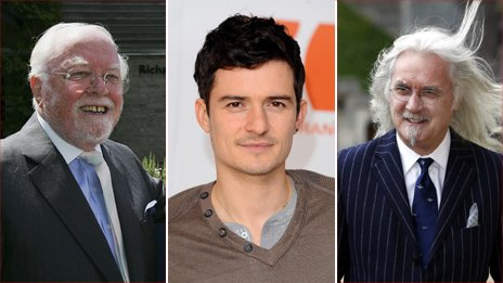 Lord Attenborough, Orlando Bloom and Billy Connolly