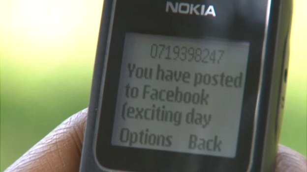 Mobile phone showing a text message