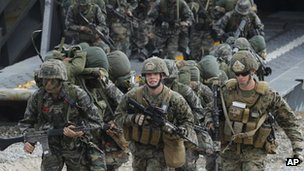 File photo: US and South Korean marines during a joint military drill, 26 April 2013