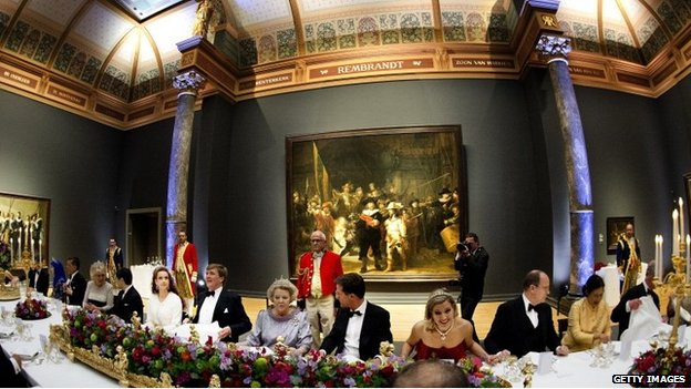 Queen Beatrix of The Netherlands (centre L) sits beside Dutch Prime Minister Mark Rutte (centre R) as she hosts a dinner hosted by Queen Beatrix of The Netherlands ahead of her abdication at Rijksmuseum.