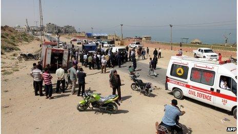 Scene of air strike in Gaza