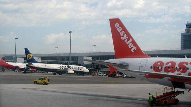 Ryanair and Easyjet planes at Malaga airport