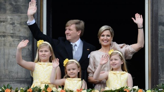 Royal family on the balcony, Amsterdam (30 April 2013)