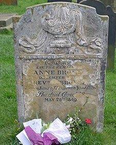 Anne Bronte's original gravestone