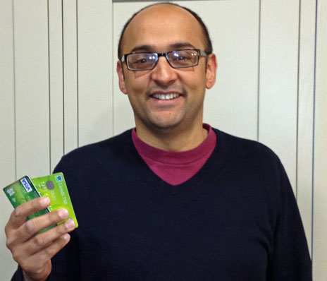 Ramzan Karmali with his returned credit cards