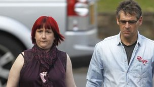 Coral and Paul Jones arriving at court on a previous day