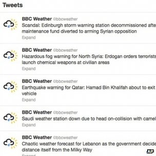 BBC Weather account with hacked messages
