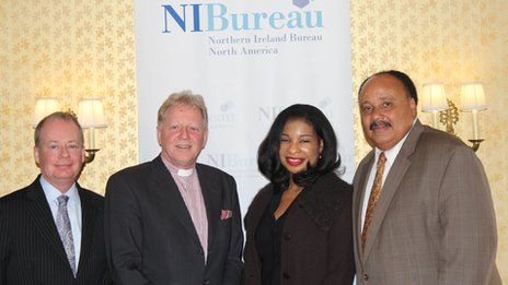 The Director of the NI Bureau, Washington D.C., Norman Houston; the Chairman of the Bright Brand New Day initiative, Dr David Latimer; Mrs Arndrea Waters King; Mr Martin Luther King III. Photo by Bronagh Finnegan