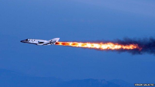 SpaceShipTwo under rocket power