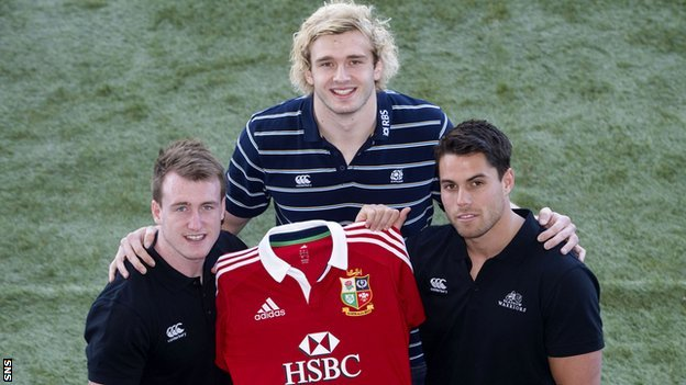 Stuart Hogg, Richie Gray and Sean Maitland