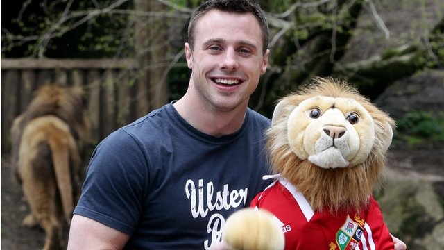 Tommy Bowe celebrates his Lions call-up at Belfast Zoo