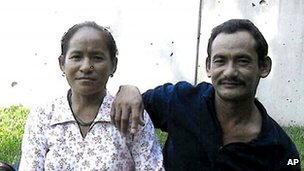 This undated photo released by the Philadelphia District Attorney's Office shows Karnamaya Mongar, left, and her husband, Mr Mongar,