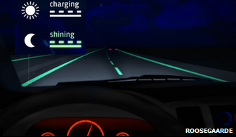Glow in the dark road markings
