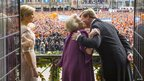 King Willem-Alexander, Princess Beatrix and Queen Maxima on the balcony of the Royal Palace on 30 April 2013