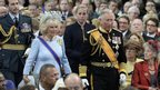 Britain's Prince Charles and his wife Camilla, Duchess of Cornwall, at the Nieuwe Kerk in Amsterdam on 30 April 2013