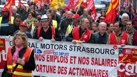 May Day rally by union members in Strasbourg, France