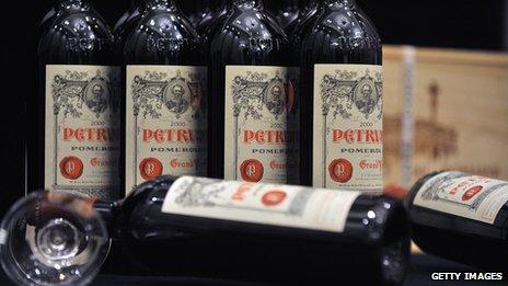 Chateau Petrus wine bottles