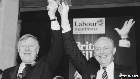 Roy Hattersley and Neil Kinnock in 1987