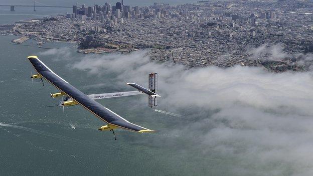 Solar Impulse plane over San Francisco
