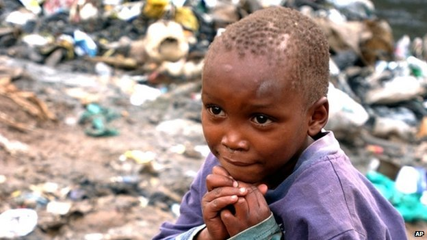 A Kenyan child in a slum in Nairobi