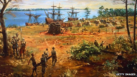Painting of Jamestown Colony