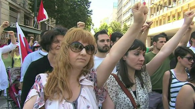 Protesters in Greece on May Day