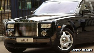 Lord Sugar's car, registered AMS 1