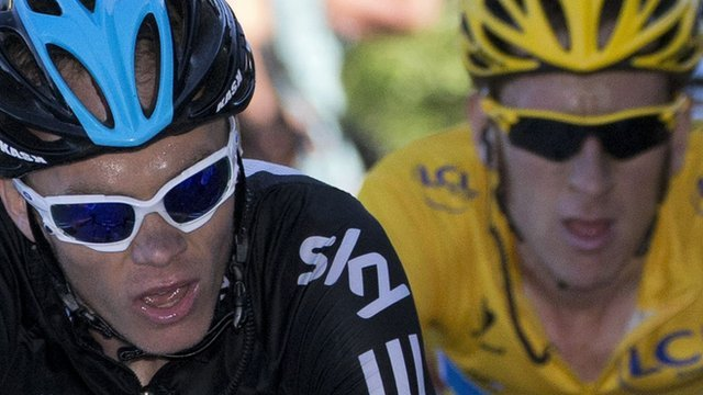 British riders Chris Froome (l) and Sir Bradley Wiggins (r)