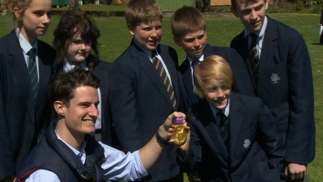 Olympic gold medallist Peter Wilson with pupils at Lytchett Minster Upper School
