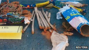 A collection of fireworks found inside a backpack are seen in a handout photo released by the Federal Bureau of Investigation (FBI) 1 May 2013