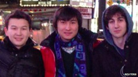 Boston marathon bombing suspect Dzhokhar Tsarnaev (right) poses with Azamat Tazhayakov (left) and Dias Kadyrbayev (centre) in an undated photo taken in New York