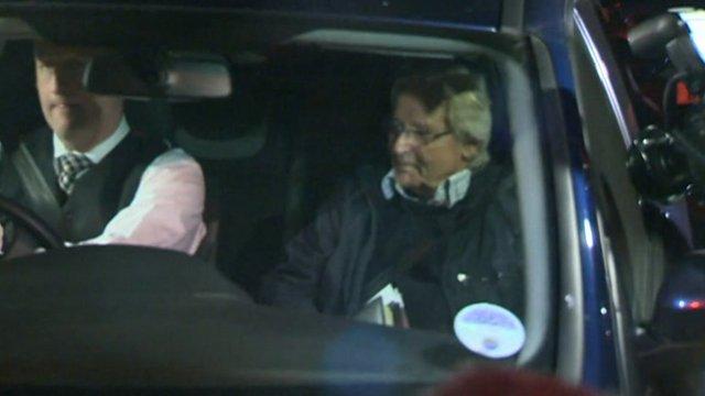 William Roache in a car