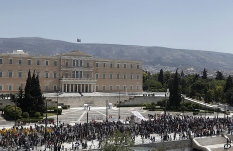 A rally on Syntagma Square, Athens, 1 May